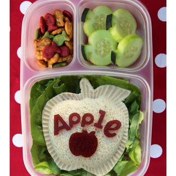 bento box apples cucumber goldfish