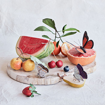 sculptural paper fruit still life