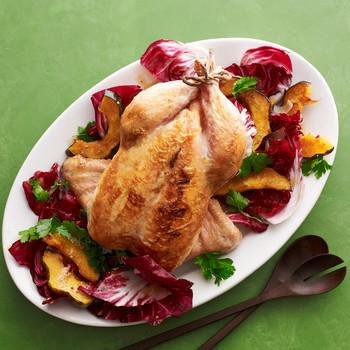 Roast Chicken with Acorn Squash and Radicchio Salad