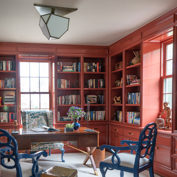 red office with flush mount light
