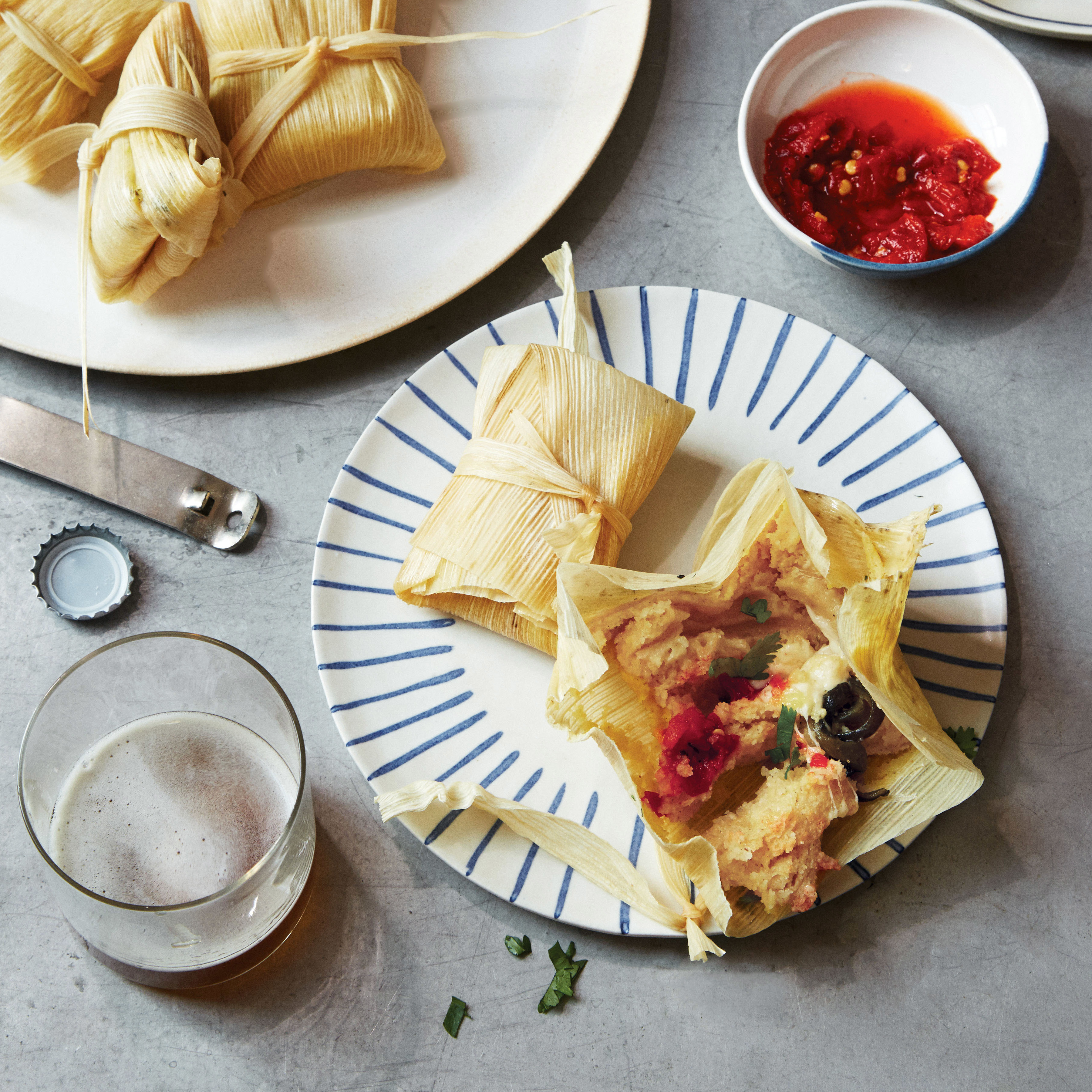 pressure cooker rajas tamales plates glass