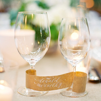 Wine Place Cards at Wedding