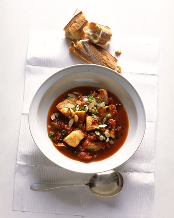 black cod in tomato saffron stew