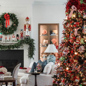 living room with nutcracker mantle christmas tree