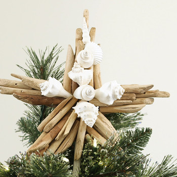 Driftwood-Seashell Star Tree Topper
