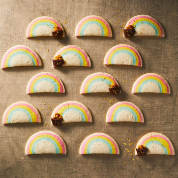 end of the rainbow slice and bake cookies with peanut butter cups
