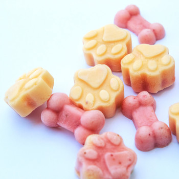 pink and yellow frozen yogurt dog treats