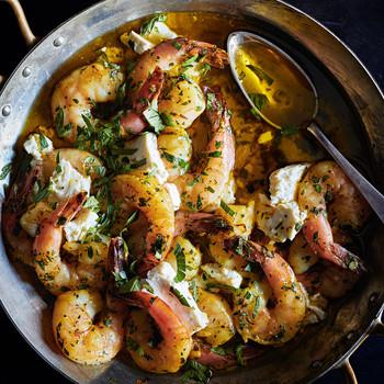 herby shrimp-and-feta-bake in skillet