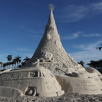 Christmas tree made of sand