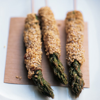 Sesame-Coated Pancetta-Wrapped Asparagus