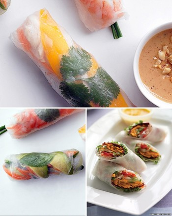 Spring Rolls with Carrot-Ginger Dipping Sauce