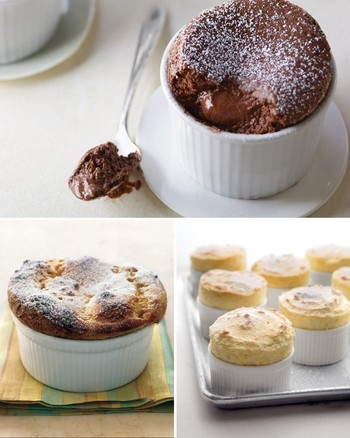 Pistachio Souffles with Soft Chocolate Centers