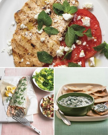 Greek-Style Chicken with Pickled Onions, Tomatoes, and Tzatziki
