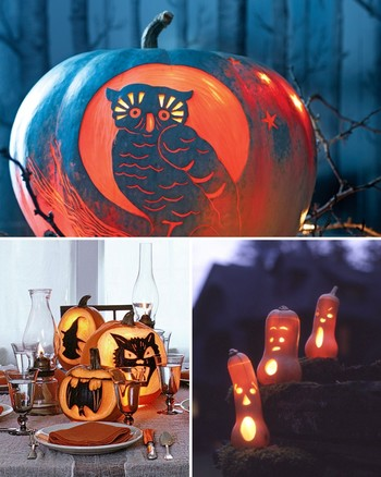 Leaf-Carved Pumpkin Lanterns