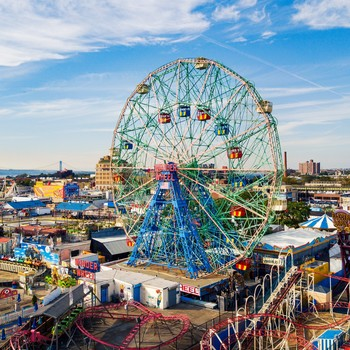 aerial view of the Wonder Wheel at Coney Island