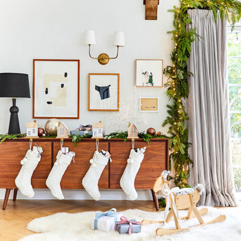 emily henderson holiday buffet with stockings