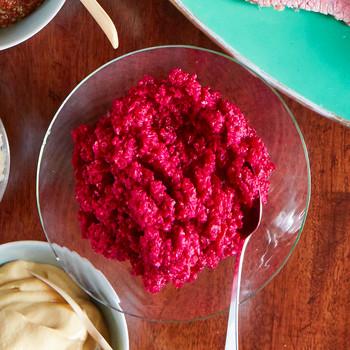 fresh red horseradish sauce in glass bowl