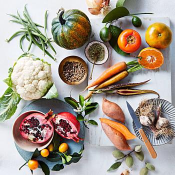 pomegranate carrots squash garlic