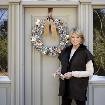 Martha Stewart with handmade wreath
