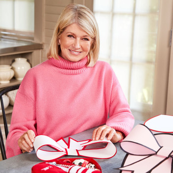 portrait of Martha Stewart with Valentine's Day diy gifts
