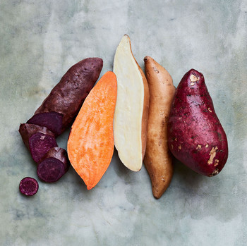 purple, orange, and white sweet potatoes