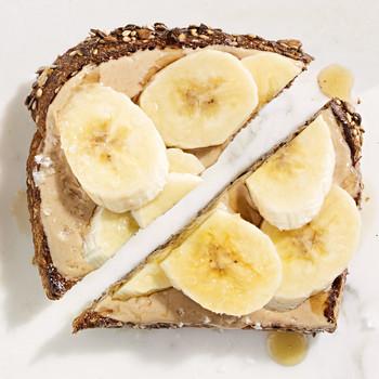tahini banana maple syrup toast