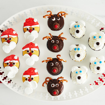Christmas Cupcakes with Festive Faces