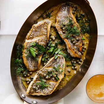 Black Sea Bass with Capers and Herb-Butter Sauce in large pan