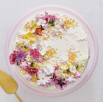 citrus mousse cake top decorated flowers