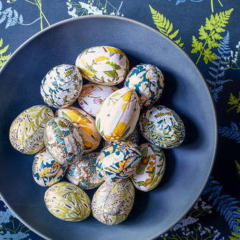 decorated Easter eggs in a bowl