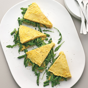 Omelet with Asparagus, Greens, and Pecorino