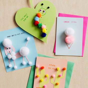 colorful childrens valentines day cards with pom poms