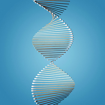 dna strand genetic testing blue background