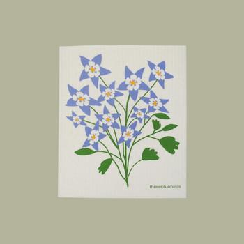 swedish dishcloth with purple flowers