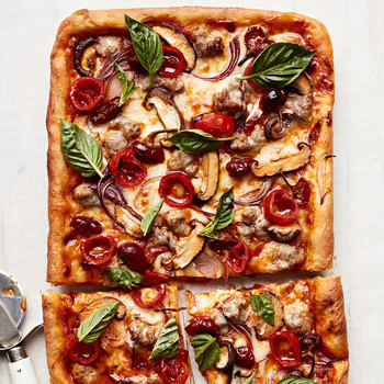 Sausage, Mushroom, and Pickled Pepper Pizza
