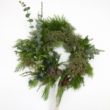 asymmetrical christmas wreath complete