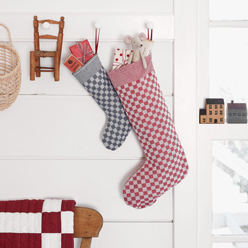 checkered print Christmas stockings