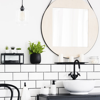 toilet interior with a mirror, plant, chair, and black cupboard