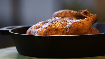 Beer-Can Roasted Chicken with Fig-Jam Pan Sauce