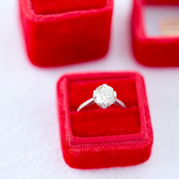 Red Ring Box with Round-Cut Engagement Ring