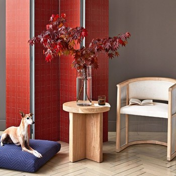 red printed wallpaper covered room divider