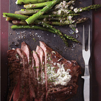 Grilled Flank Steak and Asparagus with Chimichurri Butter