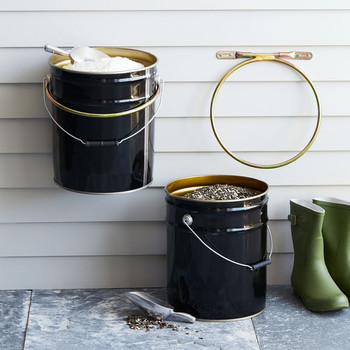 buckets with birdfeed