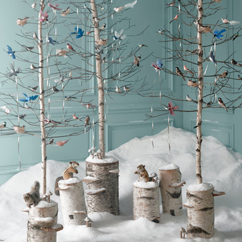 Christmas Ornaments: Glittered Birds, Nests, and Mushrooms