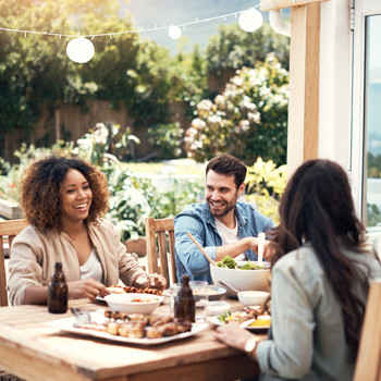 Couples Dining Outside on Patio