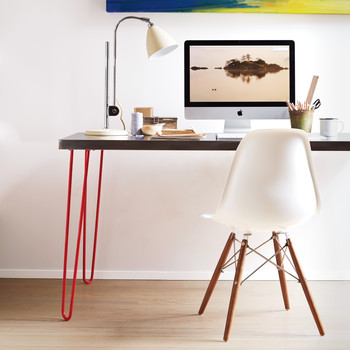 Hairpin-Leg and Stainless-Top Desk