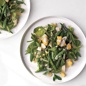 Garden Greens with Chopped Eggs and Whole Herbs