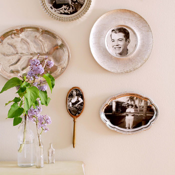 Vintage photos in trays and mirrors