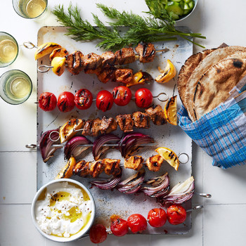 Yogurt-Marinated Lamb and Chicken Skewers