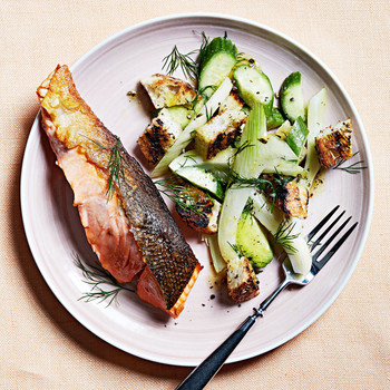 grilled salmon with rye panzanella